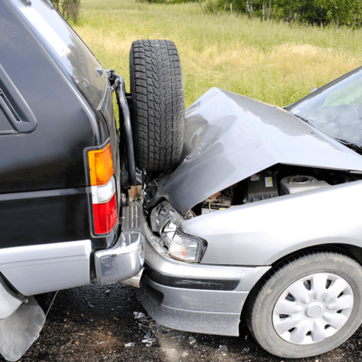 A photo of a car accident